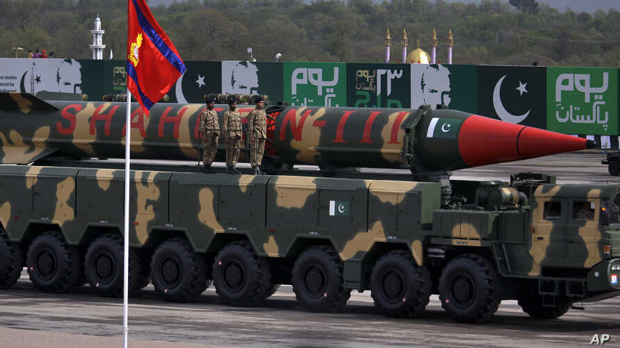 A Pakistani-made Shaheen-III missile, capable of carrying nuclear war heads, loaded on a trailer rolls down during a military parade to mark Pakistan's Republic Day in Islamabad, Pakistan, March 23, 2016.
