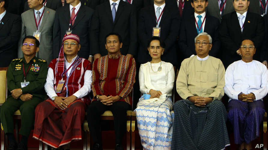First row, left to right; Myanmar's Army Commander Senior Gen. Min Aung Hlaing, Myanmar Upper House speaker of Mann Win Khaing Than, Vice President Henry Van Hti Yu, Foreign Minister Aung San Suu Kyi, President Htin Kyaw, and Vice President Mint Swe,