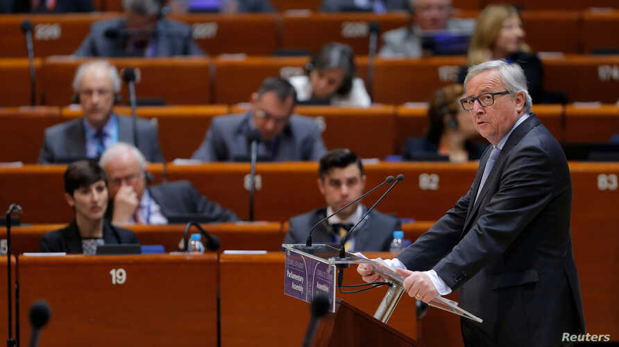 European Commission President Jean-Claude Juncker addresses the Parliamentary of the Council of Europe in Strasbourg, France, April 19, 2016.