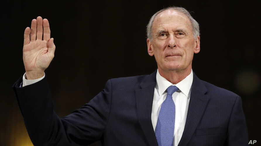 Director of National Intelligence-designate Dan Coats is sworn-in on Capitol Hill in Washington, Feb. 28, 2017, at his confirmation hearing before the Senate Intelligence Committee. in Washington.