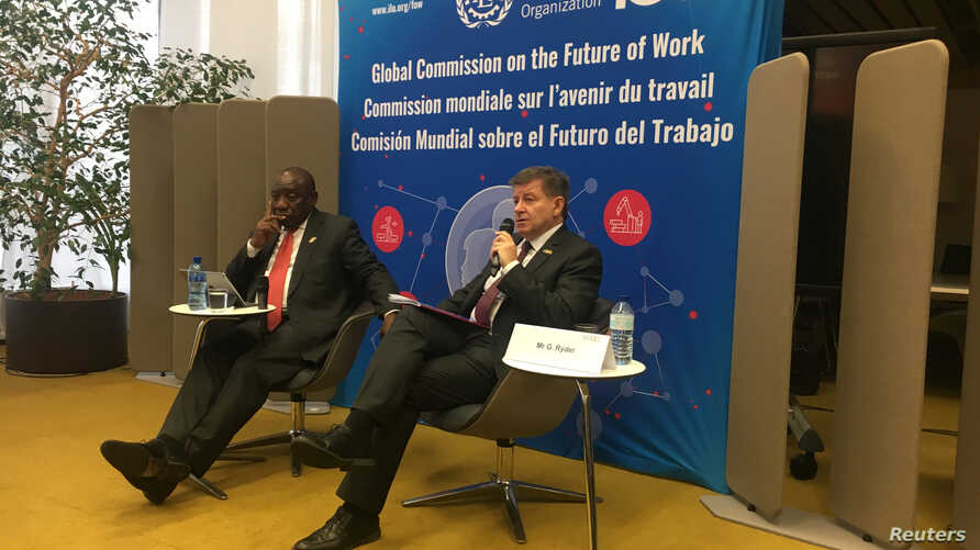 South African President Cyril Ramaphosa and International Labour Organization Director-General Guy Ryder launch the report of the Global Commission on the Future of Work at a news conference held at ILO headquarters in Geneva, Switzerland, Jan. 22, 2...