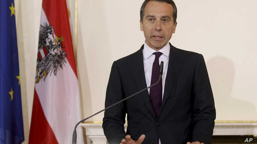 FILE - Austrian Chancellor Christian Kern speaks to the media at the federal chancellery in Vienna, Austria, May 9, 2017.