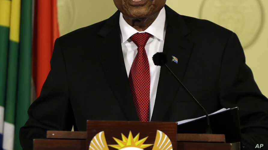 """South African President Jacob Zuma addresses the nation and press at the government's Union Buildings in Pretoria, South Africa, Feb. 14, 2018. Zuma said he will resign """"with immediate effect."""""""