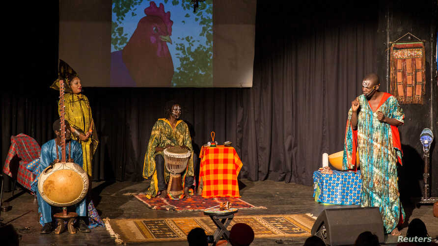 A storyteller engages the crowd at the Re-imagined Storytelling Festival in Nairobi, Kenya, Dec. 15, 2018.