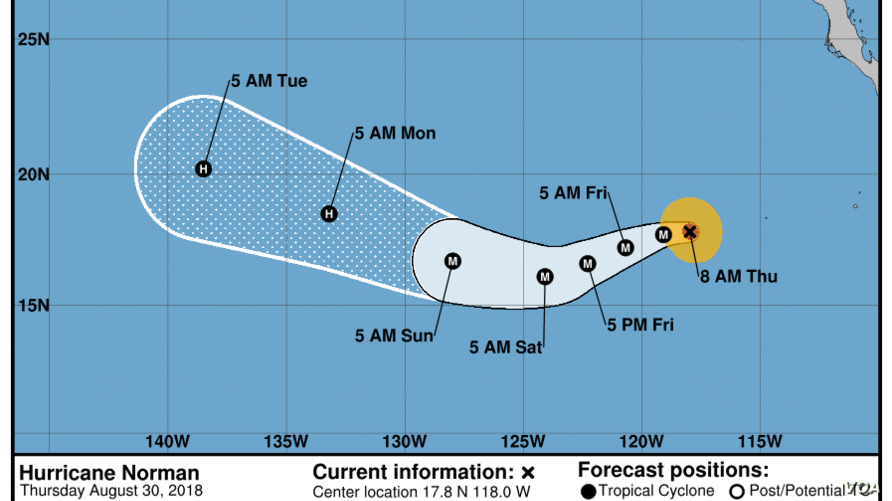 Cone shows the probably path of Norman's storm center but does not show the size of the storm. (National Hurricane Center)