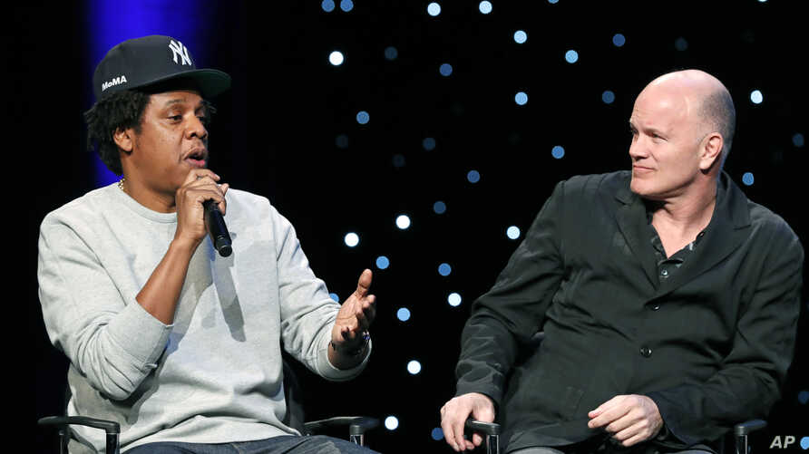 """Jay-Z"" and Michael Novogratz, founder and CEO Galaxy Digital, during the launch of a partnership among entertainment moguls, recording artists, business and sports leaders who hope to transform the US criminal justice system, Jan. 23, 2019."