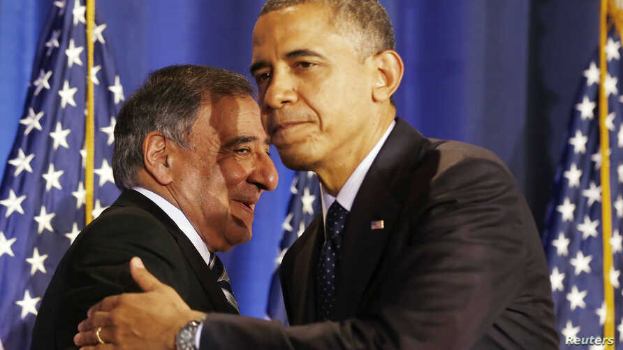 FILE - President Barack Obama (R) and then U.S. Secretary of Defense Leon Panetta are seen together at the National Defense University in Washington, December 3, 2012.