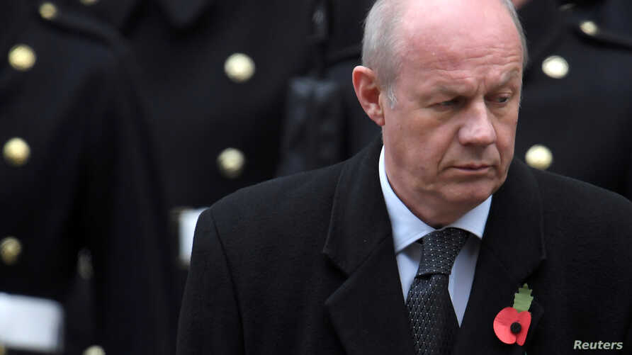 Britain's First Secretary of State Damian Green attends the Remembrance Sunday service in London, Nov. 12, 2017.