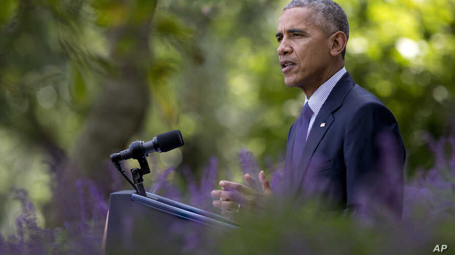 President Barack Obama speaks in the Rose Garden of the White House in Washington, Wednesday, Oct. 5, 2016, where he welcomed the news that the Paris agreement on climate change will take effect in a month as a historic achievement.