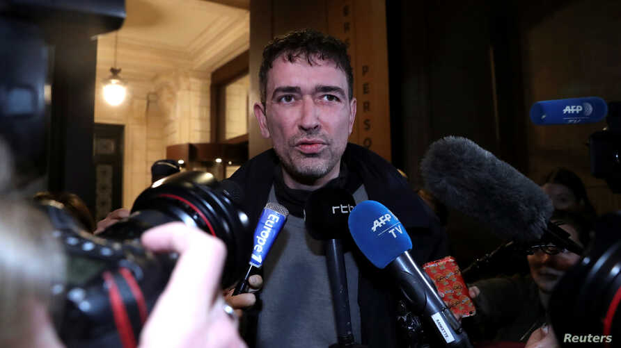 Sebastien Courtoy, lawyer of Mehdi Nemmouche, talks to reporters after the trial of Nemmouche and Nacer Bendrer, who are suspected of killing four people in a shooting at Brussels' Jewish Museum in 2014, at Brussels' Palace of Justice, Belgium, March