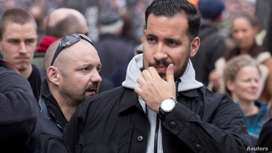 Alexandre Benalla, French presidential aide, is seen during the May Day labour union rally in Paris, May 1, 2018.