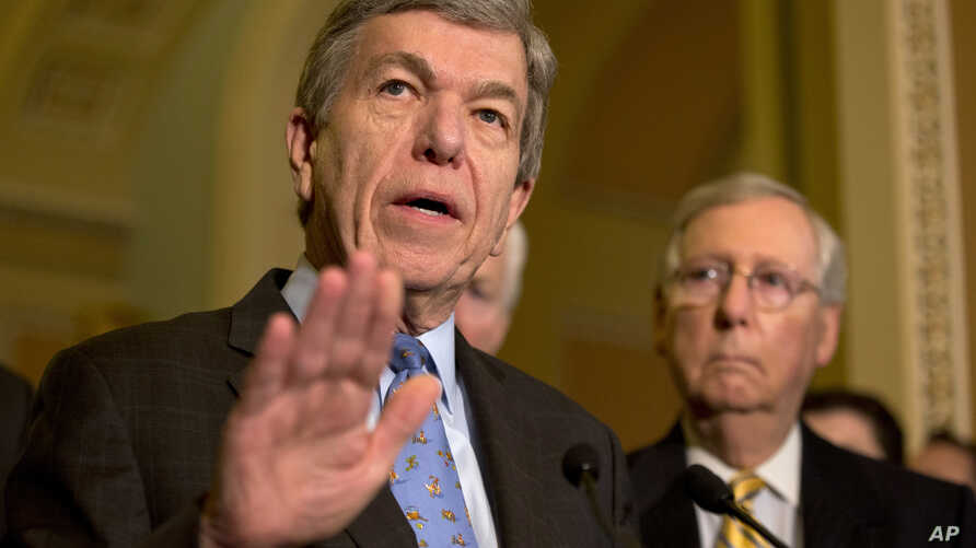Sen. Roy Blunt, R-Mo., left, accompanied by Senate Majority Leader Mitch McConnell of Ky., speaks about Zika funding during a news conference on Capitol Hill in Washington, May 17, 2016.
