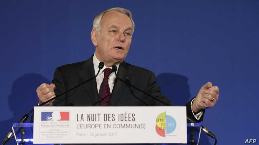 "French Foreign Minister Jean-Marc Ayrault during the launch of the second edition of the ""Night of Ideas"" (Nuit des Idees) cultural event, Jan. 26, 2017, at the French Foreign Ministry in Paris."