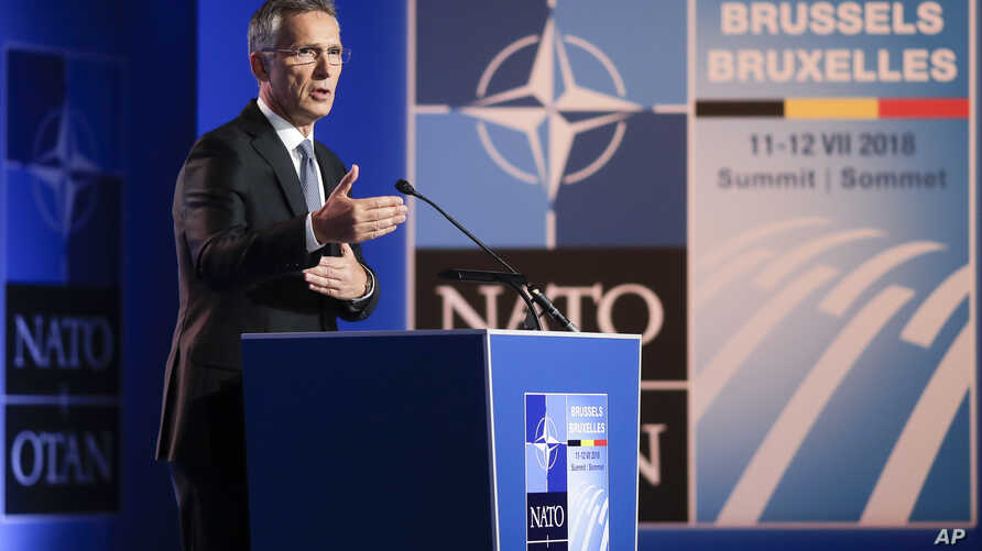 NATO Secretary General Jens Stoltenberg speaks during a media conference at NATO headquarters on the eve of a summit of the NATO heads of state and governments in Brussels on July 10, 2018.