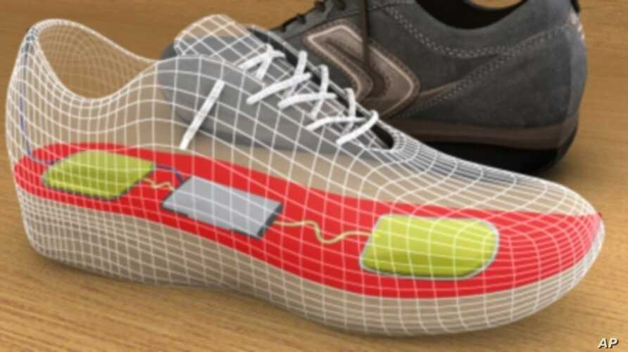 Artist's rendering of a shoe embedded with components that collect and store power to run mobile devices.