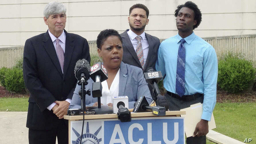FILE - Jennifer Riley-Collins, executive director of the American Civil Liberties Union of Mississippi, speaks in Jackson about a lawsuit the group had filed in her state, May 9, 2016. Nationally, the ACLU has seen the largest surge of support in its
