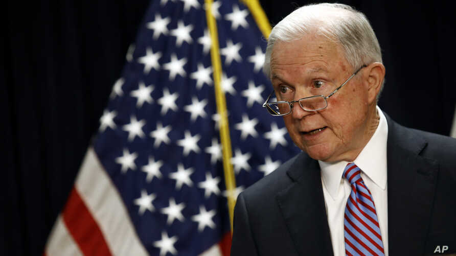 Attorney General Jeff Sessions speaks at a news conference in Baltimore, Dec. 12, 2017.
