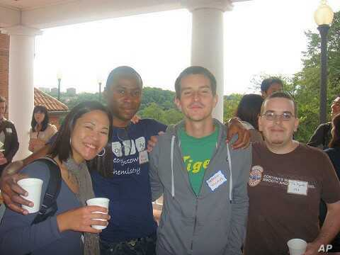Valentin Villalbi, third from left, poses during one of Georgetown University's international students meetings