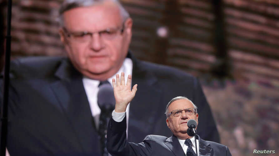 Arizona's Maricopa County Sheriff Joe Arpaio speaks at the Republican National Convention in Cleveland, Ohio, July 21, 2016.