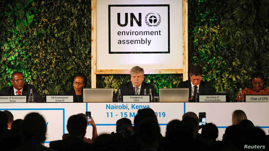 Siim Kiisler, Minister of Environment of Estonia and President of the UN Environment Assembly, flanked by other leaders addresses delegates at the UNEA within Gigiri in Nairobi, Kenya March 11, 2019.