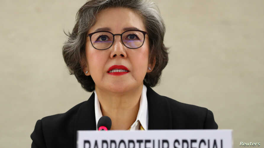 Special Rapporteur on the situation of human rights in Myanmar, Yanghee Lee gives her report to the Human Rights Council at the United Nations in Geneva, Switzerland, March 11, 2019.