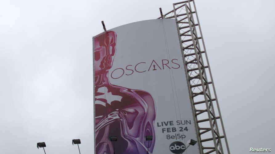 An Oscars sign is seen outside the Dolby Theatre in preparation for the 91st Academy Awards in Hollywood, Los Angeles, California, Feb. 14, 2019.