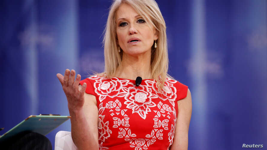 FILE - White House Counselor Kellyanne Conway speaks at the Conservative Political Action Conference (CPAC) at National Harbor, Maryland, Feb. 23, 2018.