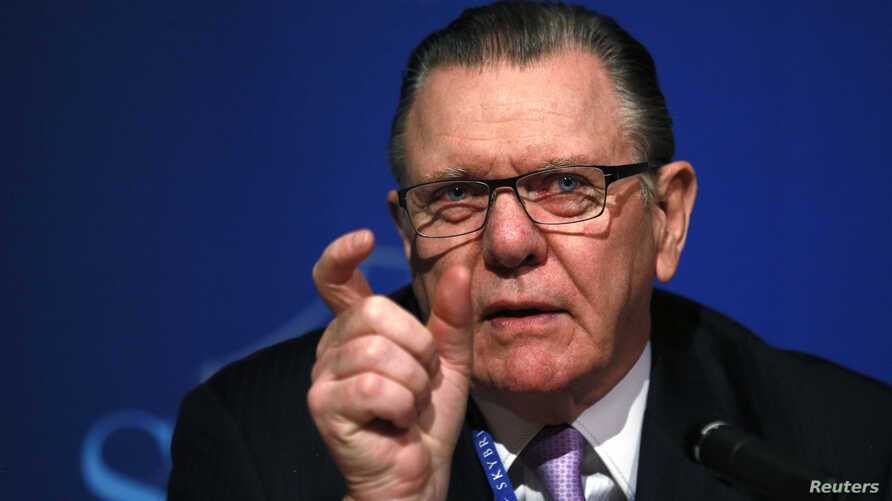 General Jack Keane, U.S. Army (ret.) , chairman, Institute for the Study of War (ISW), answers a question about Russia and Crimea as he speaks at a panel discussion at the SALT conference in Las Vegas May 15, 2014.