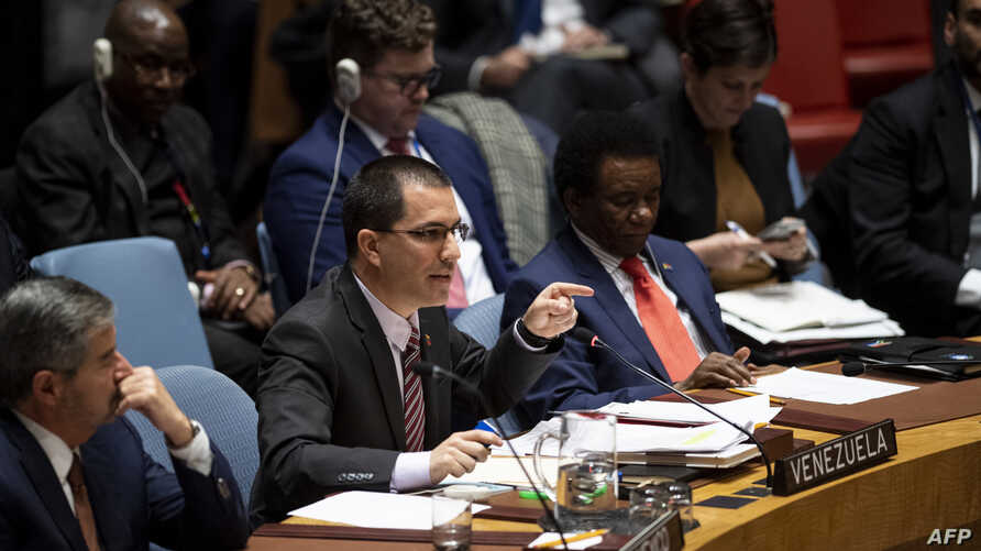 Venezuelan Foreign Minister Jorge Arreaza speaks to the United Nations Security Council meeting on Venezuela, Feb. 26, 2019, at the United Nations in New York City.