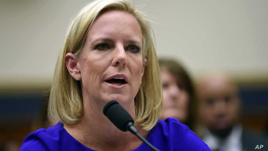 FILE - Homeland Security Secretary Kirstjen Nielsen testifies before the House Judiciary Committee on Capitol Hill in Washington.