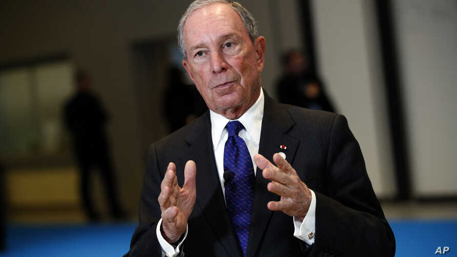 Special envoy to the United Nations for climate change Michael Bloomberg addresses the media at the One Planet Summit, near Paris, Dec. 12, 2017.