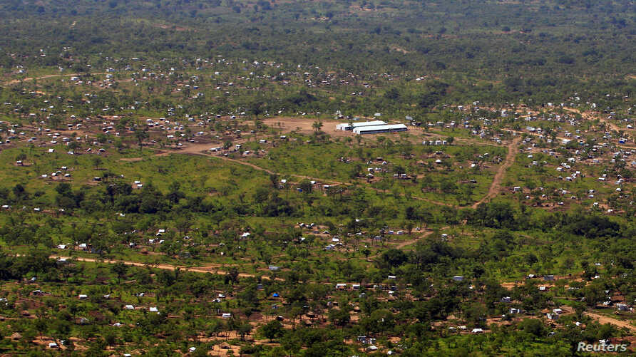 A view from a helicopter shows Imvepi settlement camp, where South Sudanese who fled civil war are being settled, in northern Uganda, June 22, 2017