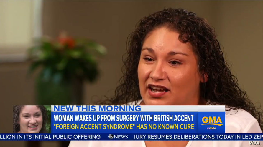 Lisa Alamia of Texas woke up with a British accent after undergoing a jaw operation.