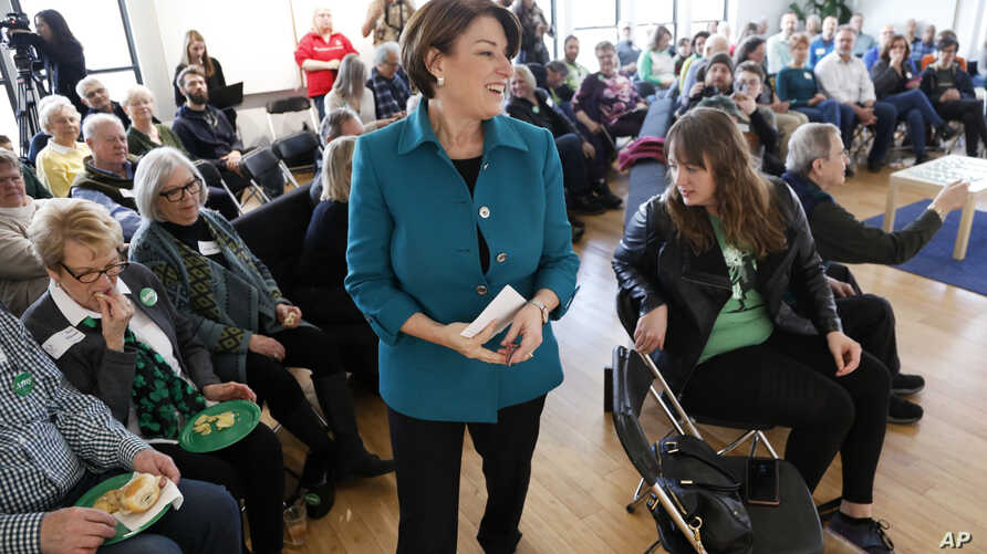 Democratic presidential candidate Sen. Amy Klobuchar, D-Minn., speaks during a meet and greet with local residents in Cedar Rapids, Iowa, March 17, 2019.
