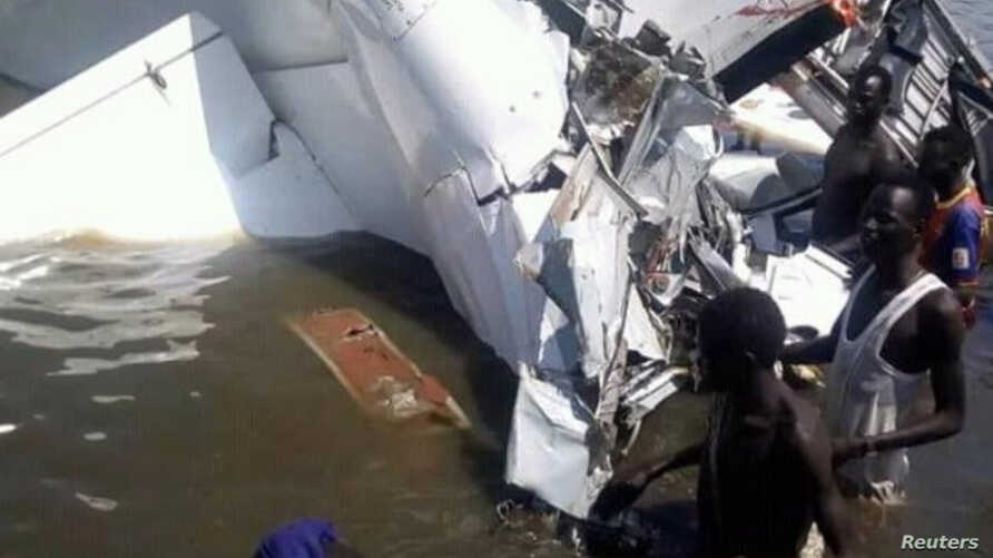 A crashed plane is seen in Lakes State, South Sudan, Sept. 9, 2018 in this picture obtained from social media.