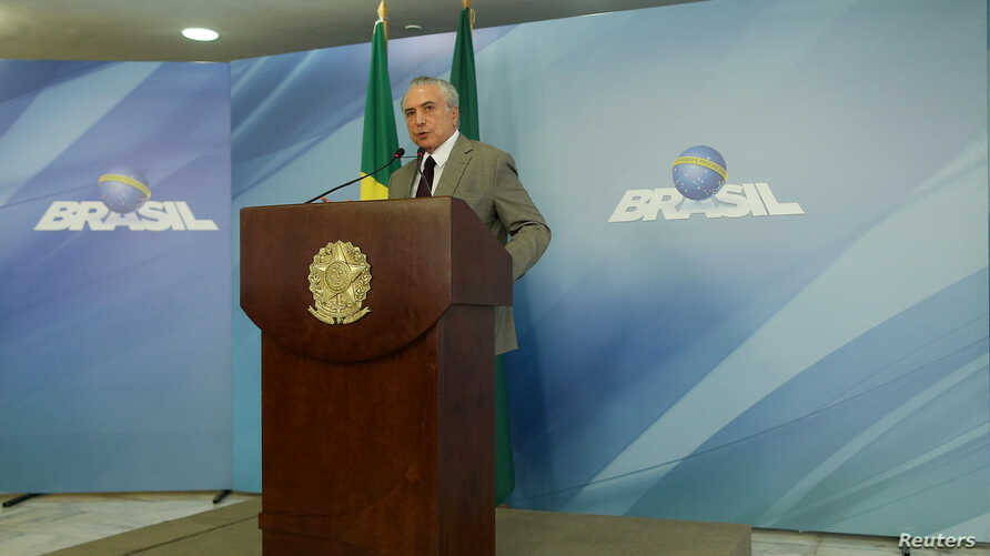 FILE - Brazil's President Michel Temer gives a speech about the country's biggest corruption investigation at the Planalto Palace in Brasilia, Brazil Feb. 13, 2017.