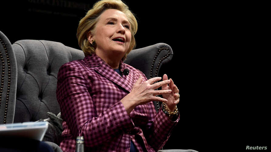 Former U.S. Secretary of State, Hillary Clinton speaks during an interview with Mariella Frostrup at the Cheltenham Literature Festival in Cheltenham, Britain, Oct. 15, 2017.
