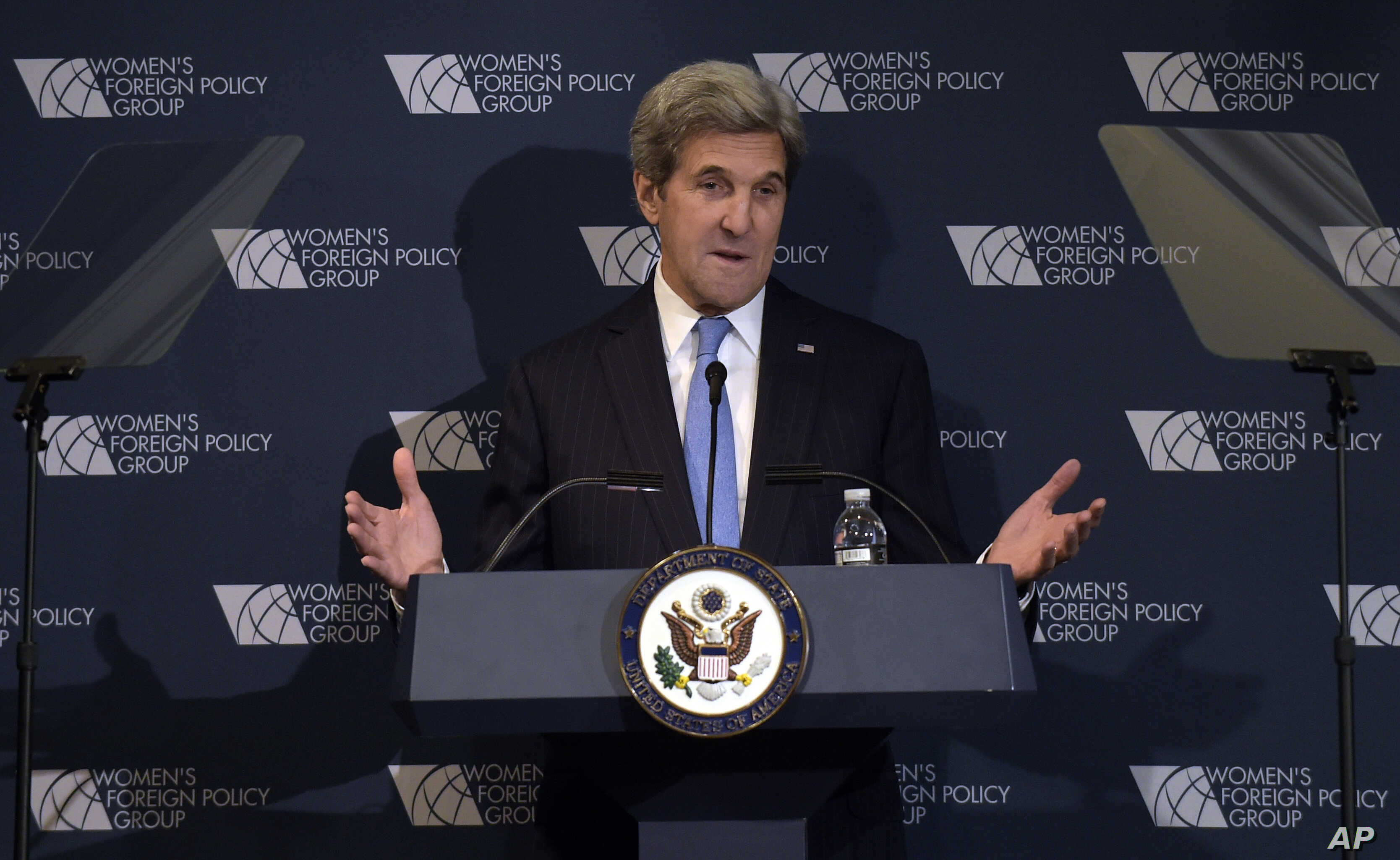Secretary of State John Kerry speaks to the Women's Foreign Policy Group in Washington, Tuesday, Nov. 29, 2016.