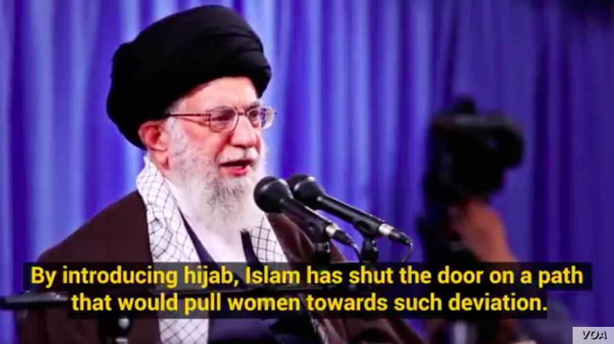 Screen grab of a video posted to Twitter by Iranian Supreme Leader Ayatollah Ali Khamenei, Oct. 3, 2018. In it, he described the Islamic female head-covering or hijab as a way to protect women in the West from sexual abuse cases exposed by the #MeToo