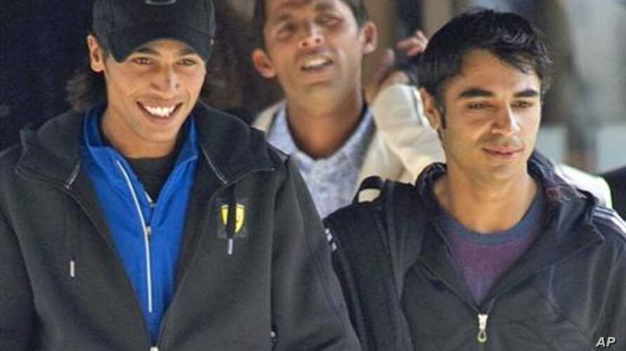 In this photograph taken on September 1, 2010, Pakistan cricketers Mohammad Amir, (L) Mohammad Asif (Back C) and captain Salman Butt (R) leave the team hotel in Taunton, in south-west England