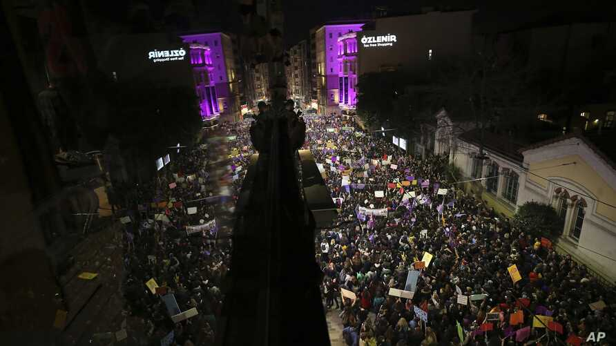 Protesters gather at Istiklal street, the main shopping street in Istanbul, during International Women's Day, March 8, 2019. The day has been sponsored by the United Nations since 1975 as millions around the world are demanding equality amid a persis
