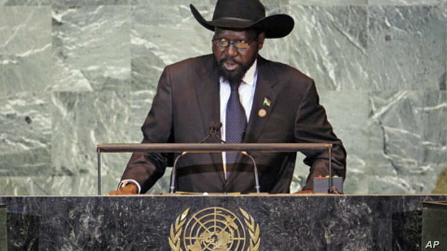 South Sudan's President Salva Kiir addresses 66th United Nations General Assembly, New York, September 2011 (file photo).