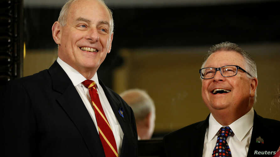 U.S. Homeland Security Secretary John Kelly, left, visits with Canada's Public Safety Minister Ralph Goodale on Parliament Hill in Ottawa, March 10, 2017.