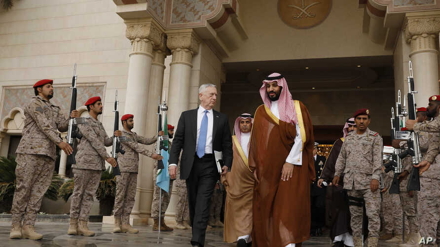 U.S. Defense Secretary James Mattis (L) departs after meeting with Saudi Arabia's Deputy Crown Prince and Defense Minister Mohammed bin Salman (R) at the Ministry of Defense in Riyadh, April 19, 2017.