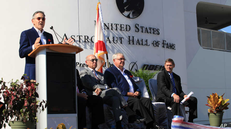 "Former astronaut Robert Cabana, Kennedy Space Center's director, speaks during the ribbon cutting ceremony for the ""Heroes and Legends"" exhibit at the Kennedy Space Center Visitor Complex in Florida, Nov. 11, 2016."