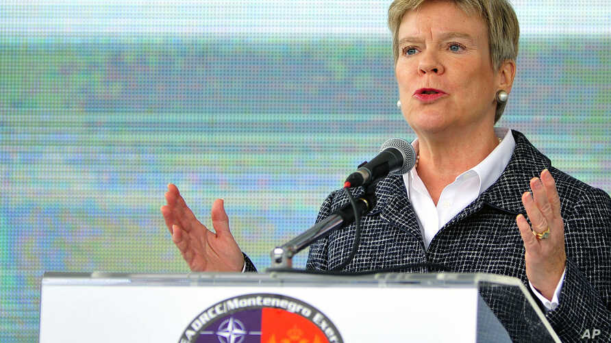 """NATO Deputy Secretary-General Rose Gottemoeller speaks during the International field exercise """"Crna Gora 2016,"""" in Plavnica, near the Montenegro capital Podgorica, Nov. 3, 2016. Gottemoeller says that she expects the Balkan country to become a membe"""