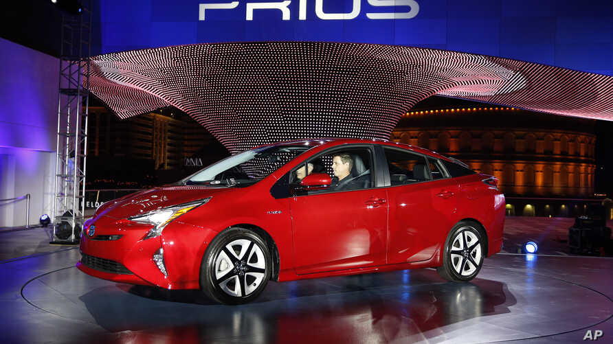 FILE - A Prius is displayed by Toyota at an event in Las Vegas, Sept. 8, 2015.