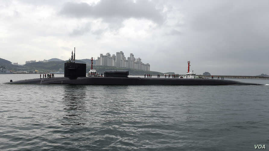 The USS Michigan submarine arrives in Busan, South Korea, April 25, 2017.