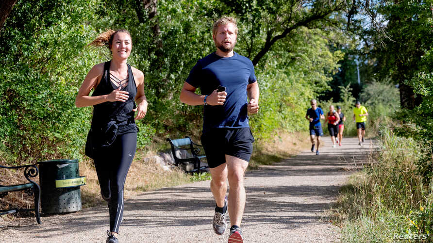 "First female journalist to receive the Kim Wall Scholarship Anne Kirstine Hermann participates in the ""Run for Kim"", in Copenhagen, Denmark Aug. 10, 2018. In memory of the murdered Swedish journalist Kim Wall there are memorial runs in Paris, Beijing"