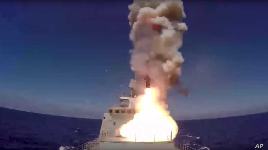 In this frame grab provided May 31, 2017 by Russian Defense Ministry press service, long-range Kalibr cruise missile is launched by the Russian Navy Admiral Essen frigate in the Mediterranean.